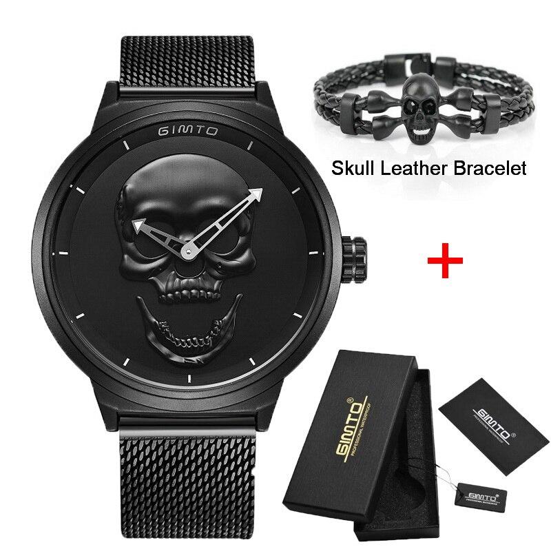 Tout nouveau Style 3D crâne hommes montre cadeau en cuir acier ou maille étanche horloge décontracté militaire mâle Sport Punk montres à Quartz