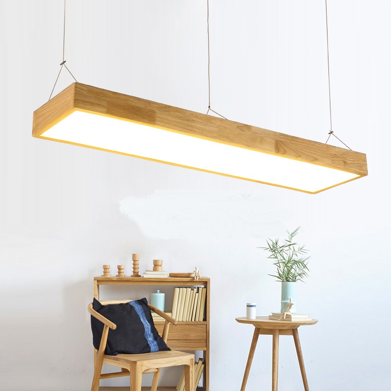 Solid Wooden Restaurant lamp pendant lights wood Nordic NEW rectangular bar LED solid wood office pendant lamps MZ141 echo 551dv page 2