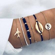 5 Pcs/ Set Bohemia Beads Chain Bracelet for Woman Punk Shell Map Aircraft Black Charm Female Fashion Jewelry Gift
