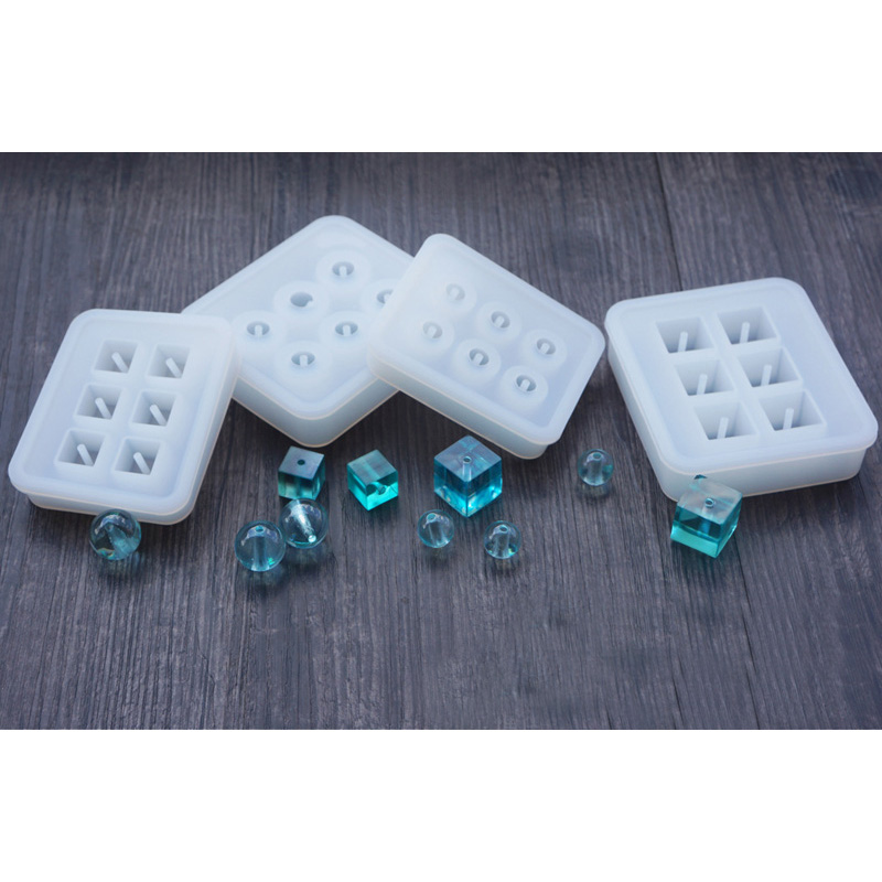 Transparent Rectangle Silicone Beads Mould Square Ball 6 Hanging Holes DIY Epoxy Jewelry Mold Resin Molds For Jewelry