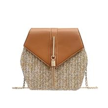 Women Straw Hand Woven Messenger Bag Korean Style Elegant Chain Beach Handbag Single Shoulder Crossbody Bags Tassel Small Bag tassel decor woven chain bag