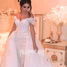 Custom Made Short Sleeve Detachable Skirt Lace Pearls Sexy Wedding Dresses Luxury Gowns Brida 2019