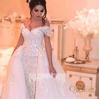 Custom Made Short Sleeve Detachable Skirt Lace Pearls Sexy Wedding Dresses Luxury Wedding Gowns Brida Dresses 2018