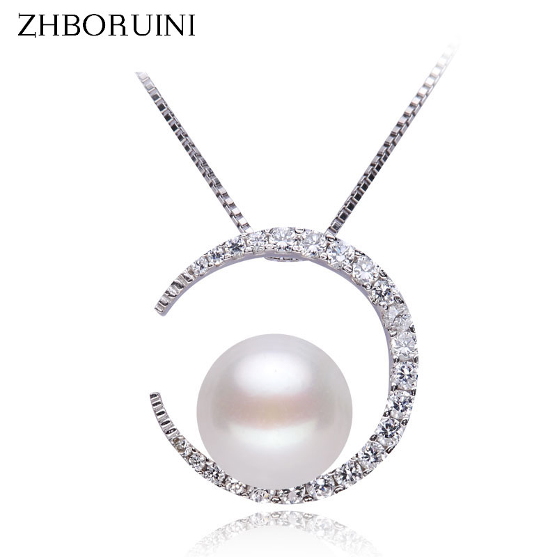 ZHBORUINI Pearl Necklace Natural Freshwater Pearl Moon Pendants 925 Sterling Silver Jewelry For Women Fashion Accessories