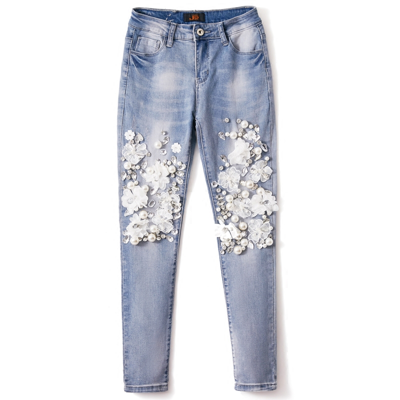 Denim Stretch Trousers Slim Pencil Female Heavy Stones European Fashion Diamond Pearl Jeans Lace Flower Pants