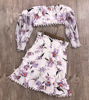 Ladies 2 Pieces Skirt Set with Long Sleeve Tops Summer Two Piece Skirt Set with Slash Neck Collar Fashion Two Piece Floral Set