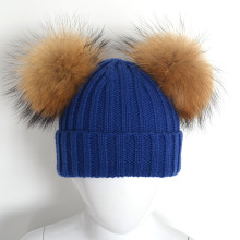 New Designal Child Winter Wool Blended Knit Stripe Cap with 2 Natural Color Real Raccoon Fur Pom Poms Kids Hat for Boys