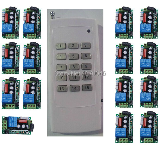 220V 15CH Radio Wireless Remote Control Switch light lamp LED ON OFF 15 Receiver &1 transmitter Learning Code Output Adjusted