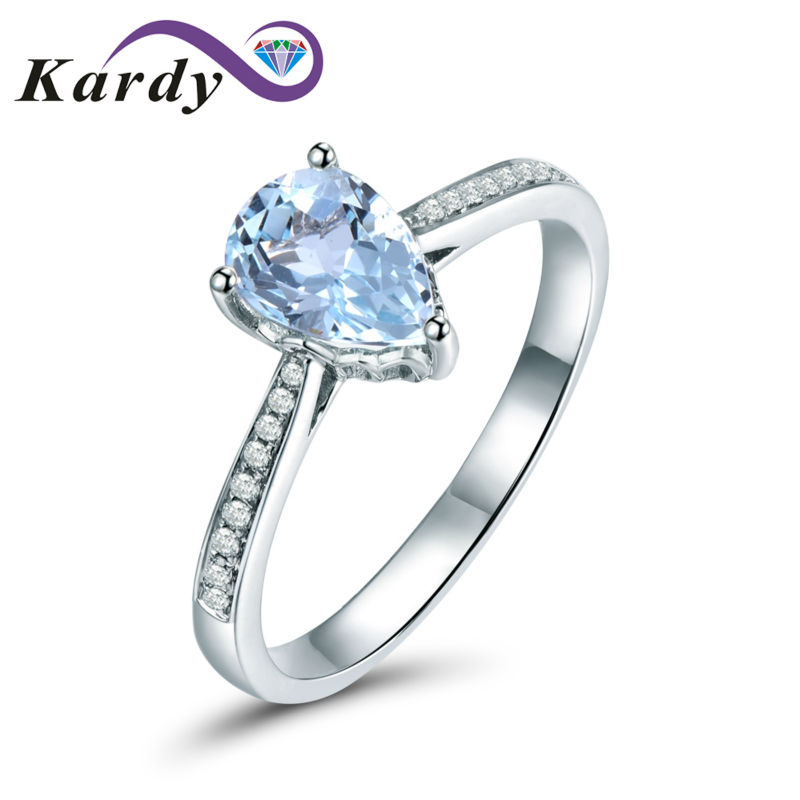 48b371aa2084f US $395.0  Unique Women's Jewelry Solid 14K White Gold Natural Aquamarine  Gemstone Diamond Engagement Promise Wedding Ring Set-in Rings from Jewelry  & ...
