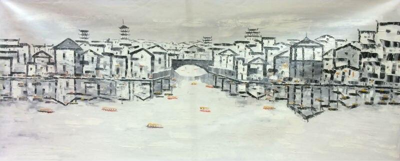 Ручная роспись белый и черный Китай Сучжоу воды деревне пейзаж масло холст картина абстрактная стена в искусстве для Домашний Декор