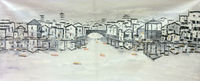 HandPainted White and Black China Suzhou Water Village Landscape Oil Canvas Painting Abstract Wall art Picture for Home Decor