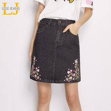 LEIJIJEANS New Arrival Summer Plus Size Flower Embroidery Grey Mid Waist Above Knee Vintage Women Slim Denim A-Line Skirts(China)