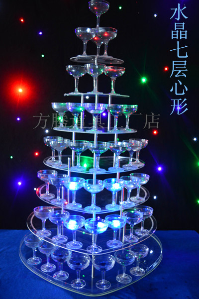 7 Tier clear heart shape champagne tower (excluding cups and light) Banquet champagne tower wedding decoration