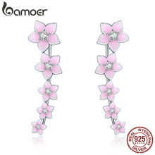 BAMOER 100% 925 Sterling Silver Cherry Flower Pink Enamel Cuff Drop Earrings for Women Fashion Silver Earrings Jewelry SCE256(China)