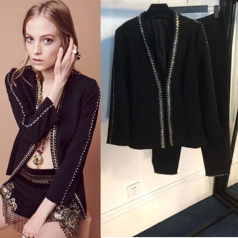 2018 Women's Suit Fashion Beading Two Piece Set Top And Pants Black Festival Sets Of Clothes For Women Binary Roupas Feminina