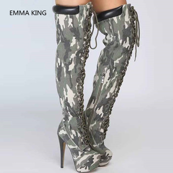 New Camouflage Women Over The Knee Platform Boots Round Toe High Heels Shoes Woman Cross-tied Army Green Thigh High Combat Boots