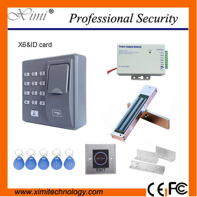 Fingerprint standalone access control apartment door access control X6 +power supply+magnetic lock+infrared exit button+bracket
