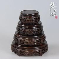 Cheap red solid black Catalpa wood carvings antique porcelain teapot vase circular base bonsai Kistler wooden nest