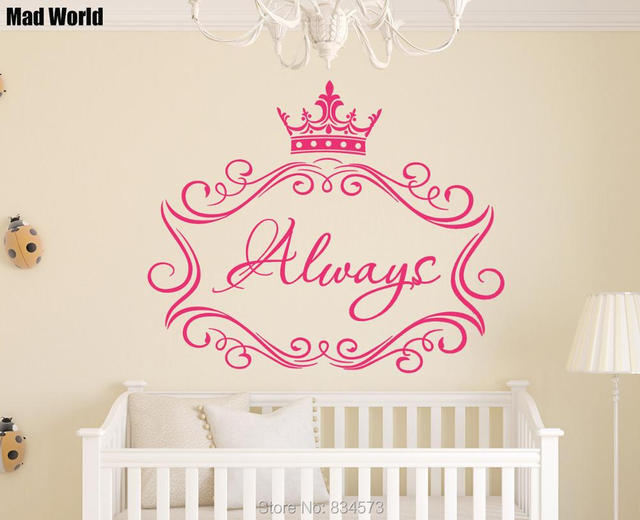Mad World Personalized Girl Princess Crown Wall Art Stickers Wall ...