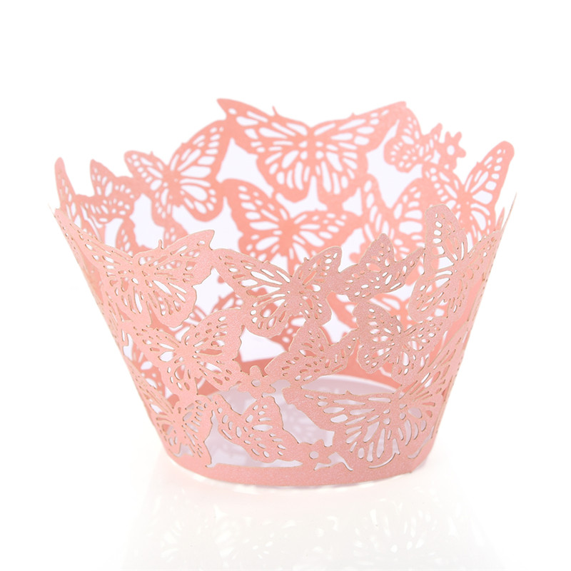 50pcs/lot Lace Laser Paper Cups Fly Butterfly Cake Wrapper Liner Baking Cup Papers for Wedding Birthday Party Cakes Decoration