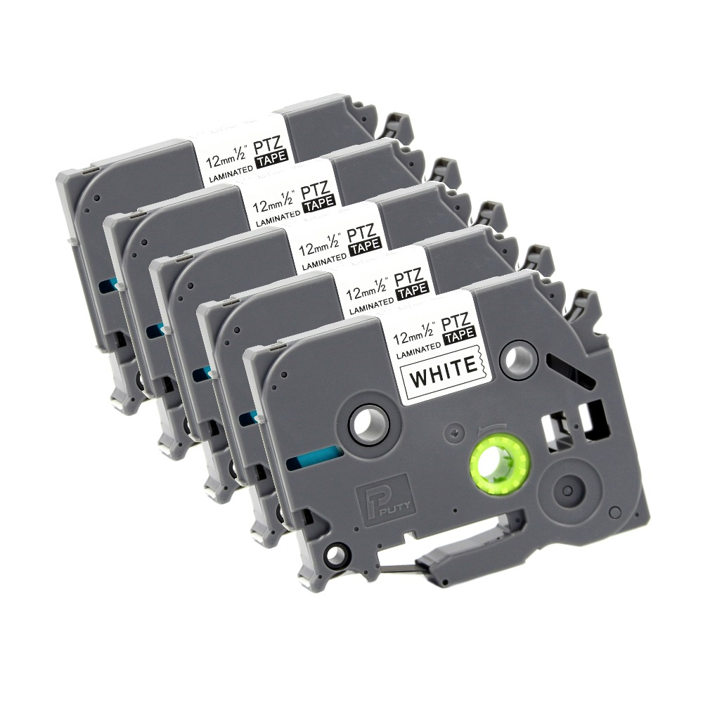 5-Pack Fimax Tech Compatible TZe-241 TZe241 18mm Black on White Standard Laminated Label Tape Compatible Brother P-touch Label Maker