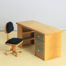G06-X718 children baby gift Toy 1:12 Dollhouse mini Furniture Miniature rement wooden Computer desks and chairs 2pcs/set