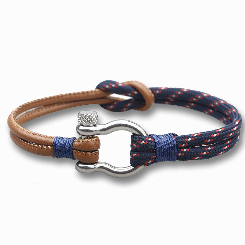 Trendy Sport Camping Jewelry PU leather and Parachute cord Bracelet Stainless Steel Buckle For Men Bangles