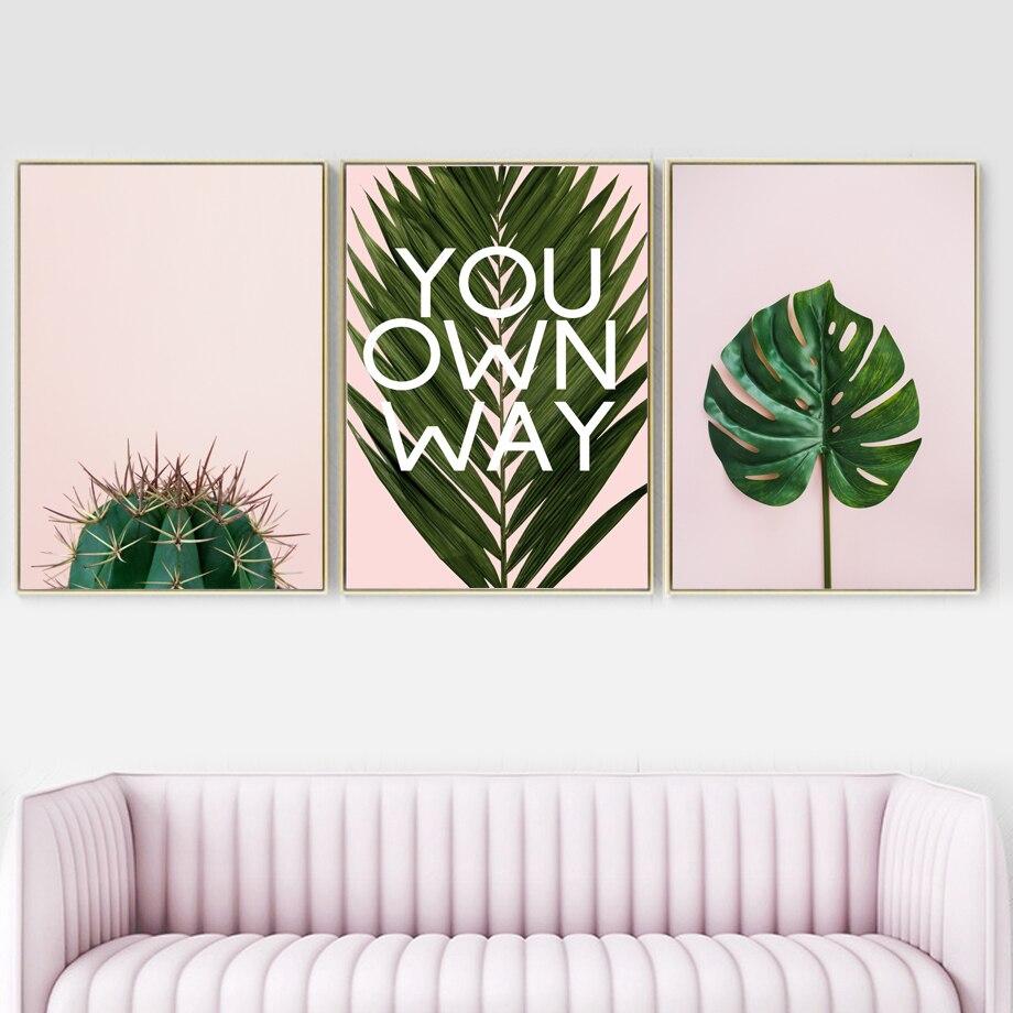 Tropical Cactus Monstera Palm Leaf Plant Wall Art Canvas