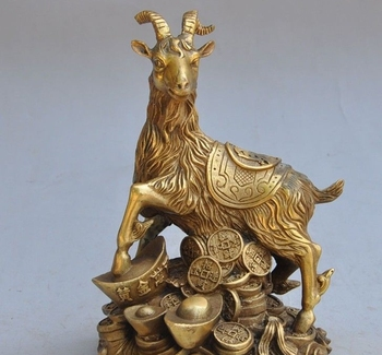 "6.69""chinese fengshui bronze copper zodiac sheep goat animal wealth lucky statue"