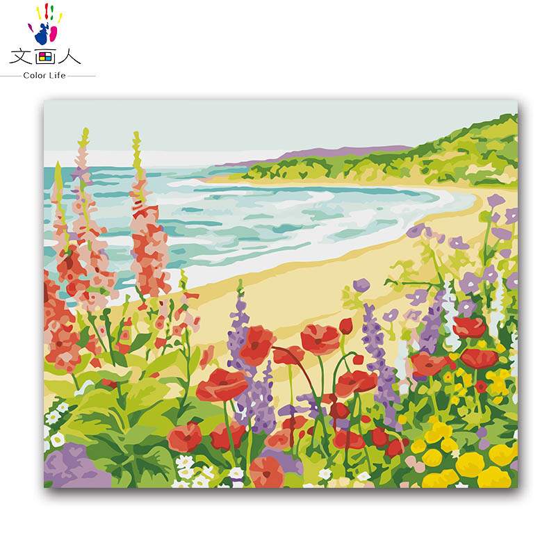 seascape beach wave oil painting package diy digital oil painting by the number with kits adult practise paint