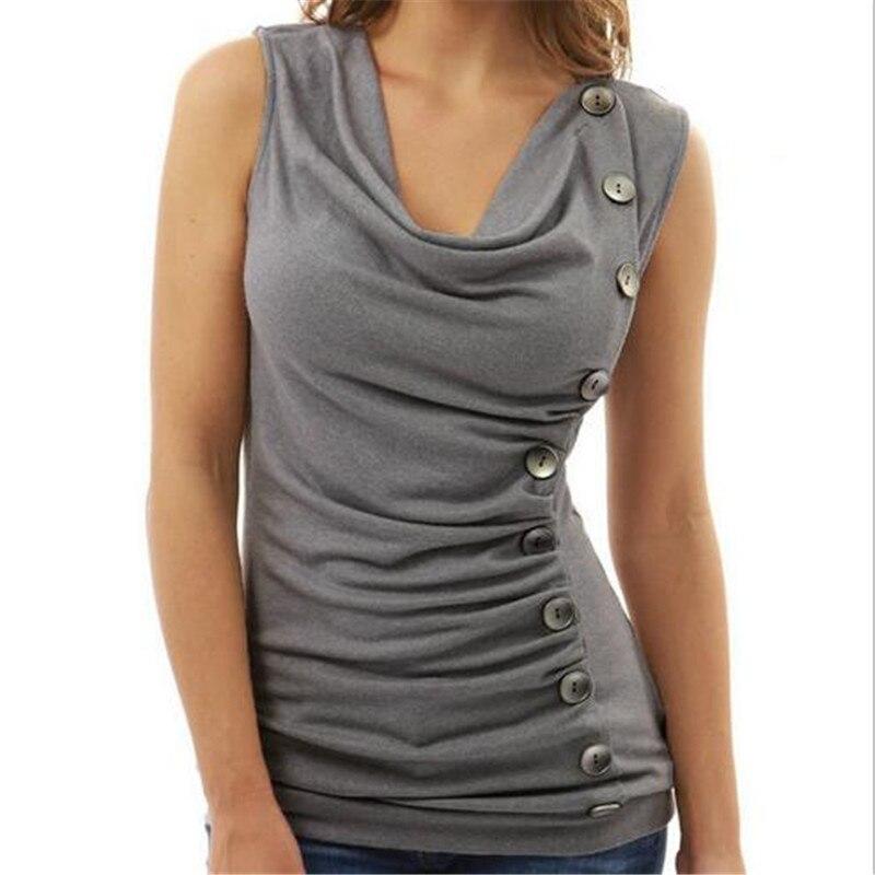 Sleeveless T-Shirt Women Tops 2018 Summer T-Shirts For Women Casual Solid Button V-Neck Tee Shirt Femme Sexy T-Shirt