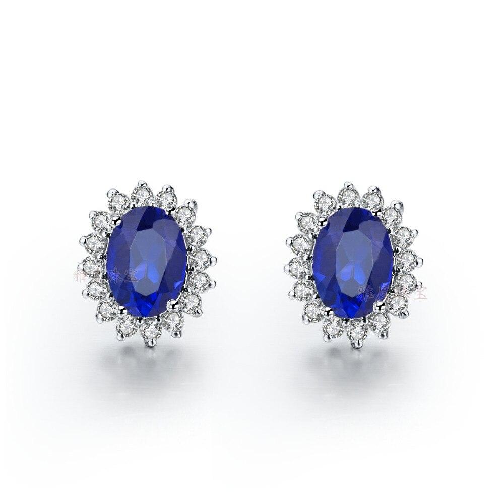 Piece Navyblue Sona Synthetic Diamonds Women Stud Earrings Authentic  925 Silver