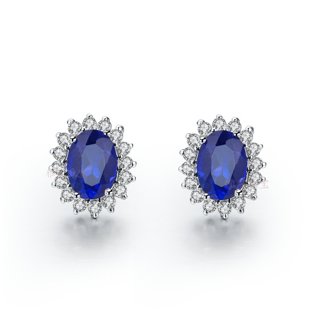 1 5ct Piece Navy Blue Sona Synthetic Diamonds Women Stud Earrings Authentic 925 Silver