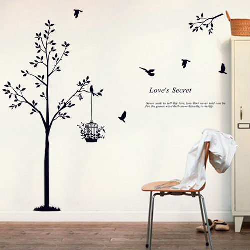 1 Set 59*65 Inch Black Tree Bird Cage Vinyl Wall Decals For Living Room Part 47