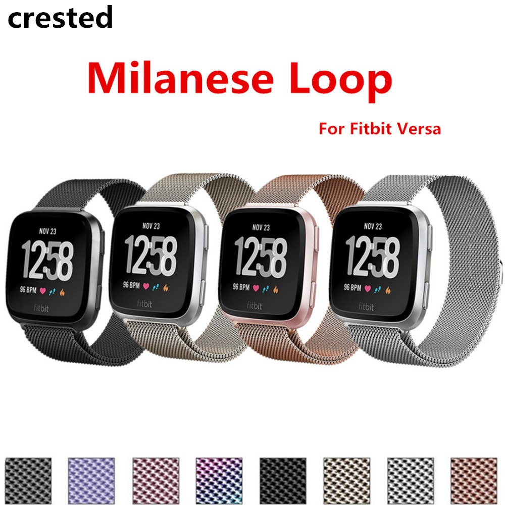 CRESTED Stainless Steel for Fitbit Versa Strap Band Milanese Loop Replacement Bracelet wrist Strap for Fitbit Versa smartwatchCRESTED Stainless Steel for Fitbit Versa Strap Band Milanese Loop Replacement Bracelet wrist Strap for Fitbit Versa smartwatch