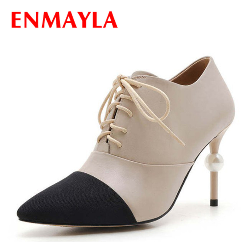 ФОТО ENMAYLA Spring Ankle Boots Women Genuine Leather Lace-up Mixed Color Shoes Woman High Heels Pointed Toe Shallow Shoes Woman