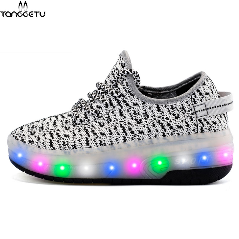 2018 New High Quality Children Luminous Sneakers LED Shoes Kids Boys Girls Baskets LED Slippers with Light Up Glowing Shoes 2018 children pu shoes with led light