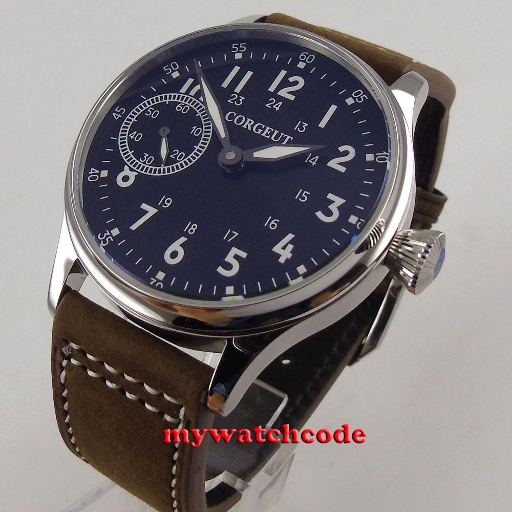 цена на 44mm Corgeut black white marks luminous 6497 hand winding movement mens watch 96