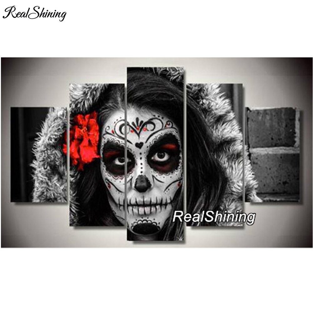 REALSHINING Dead Face Hat 5d Diamond Painting Cross Stitch Needlework Full Square Mosaic diy Diamond Embroidery Handmade <font><b>DM120</b></font> image
