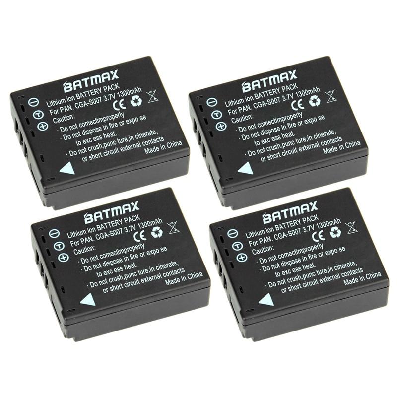 Batmax 4Pcs 1300mAh CGA-S007 CGA CGR S007E S007 S007A BCD10 Battery for Panasonic DMC TZ1 TZ2 TZ3 TZ4 TZ5 TZ50 TZ11 TZ15 Bateria