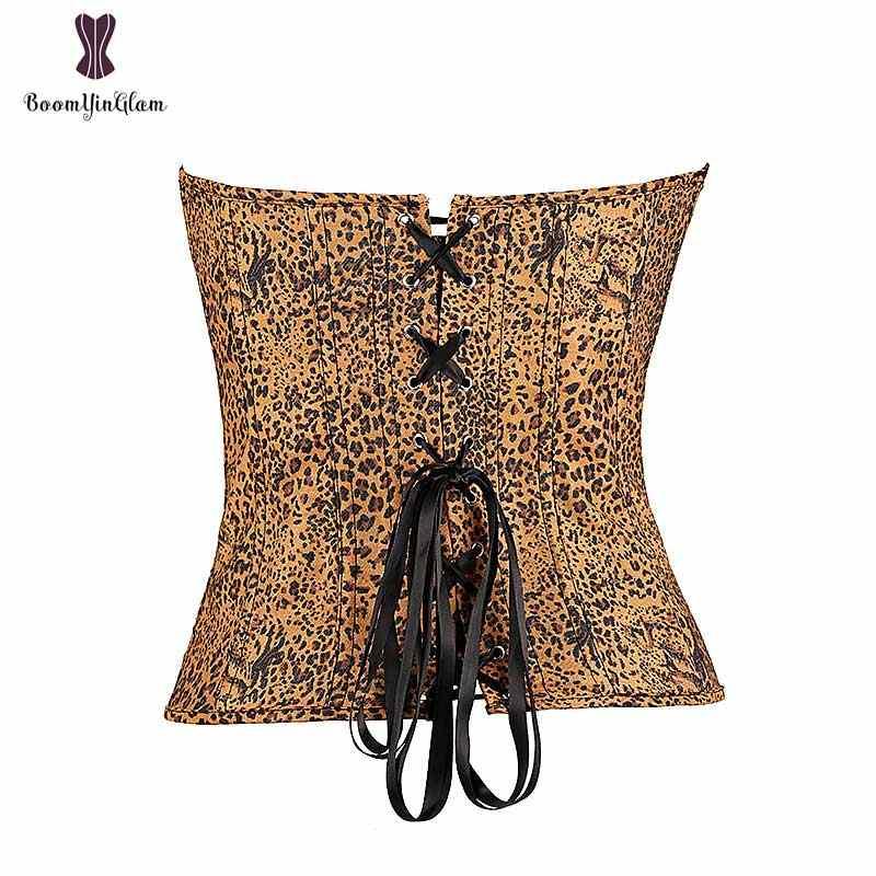 Модный дизайн, женский сексуальный бюстье Леопардовый корсет с Т-образным шнурком, оптовая цена, эластичный костяной ремень корсет для похудения