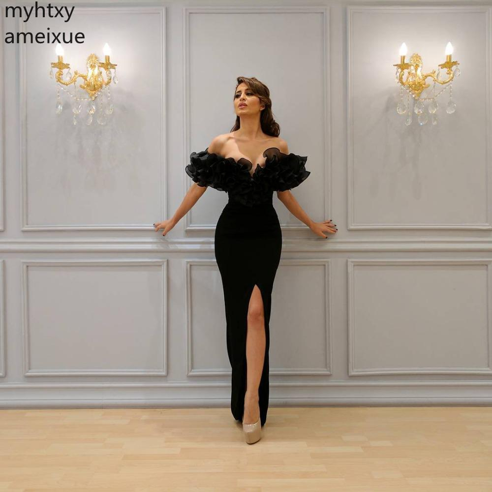 2019 Formal Black Sexy Evening Dresses V-neck None Trumpet Short Floor-length Organza Natural Cap Plus Size Evening Gown Dresses