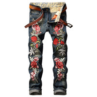 GMANCL Personality Embroidery Beauty Badge Patch Flowers Ripped Distressed Jeans Men Biker Jeans Hip Hop Denim