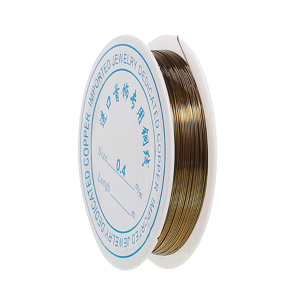Doreen Box Copper <font><b>Beading</b></font> Wire <font><b>Thread</b></font> Cord Round Antique Bronze Color <font><b>0</b></font>.4mm (26 gauge), 1 Roll (Approx 10 M/Roll) image