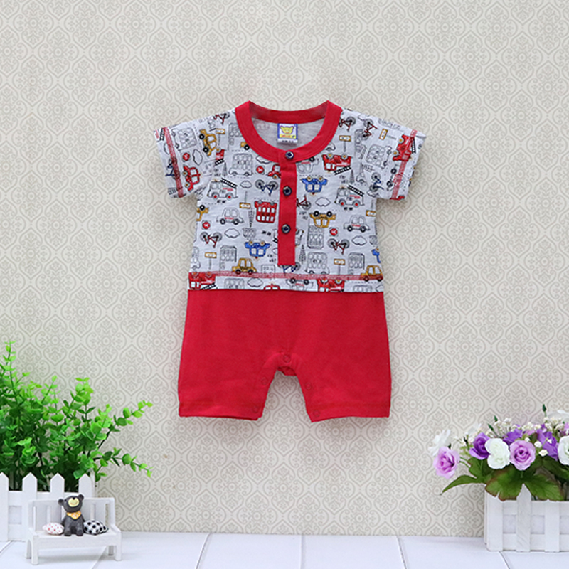 Baby Short Sleeve One Piece Boys Bodysuits Pure Cotton Newborn Clothes Girls Button Clothing Summer Thin Suits