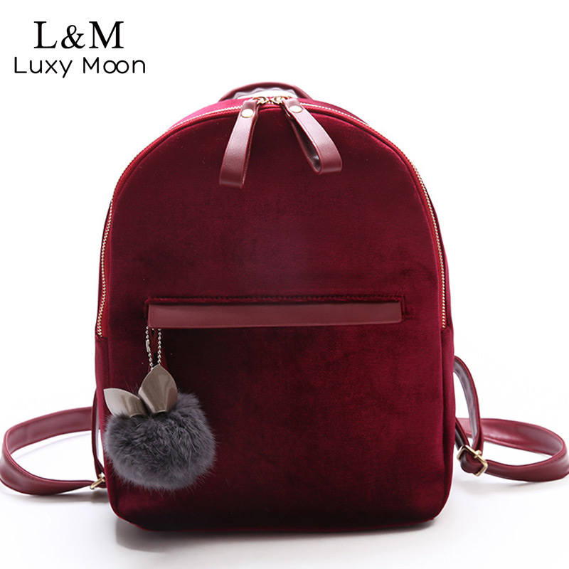 Luxy moon Women Velvet Backpack School Bags Velour Red Black PU Leather Backpacks For Teenage Girls Cute Travel Bag 2018 XA924H