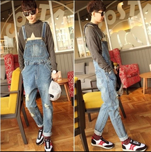 2015 Spring Men's All-Match Denim Bib Pants Holes Water Wash Slim Jeans Fashion Overalls Jumpsuits Cargo Pants