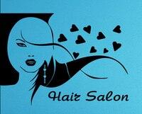 Hair Salon Vinyl Wall Decal Barbershop Long Hair Sexy Girl Face Lips Heart Mural Art Wall Sticker Hair Shop Window Decoration
