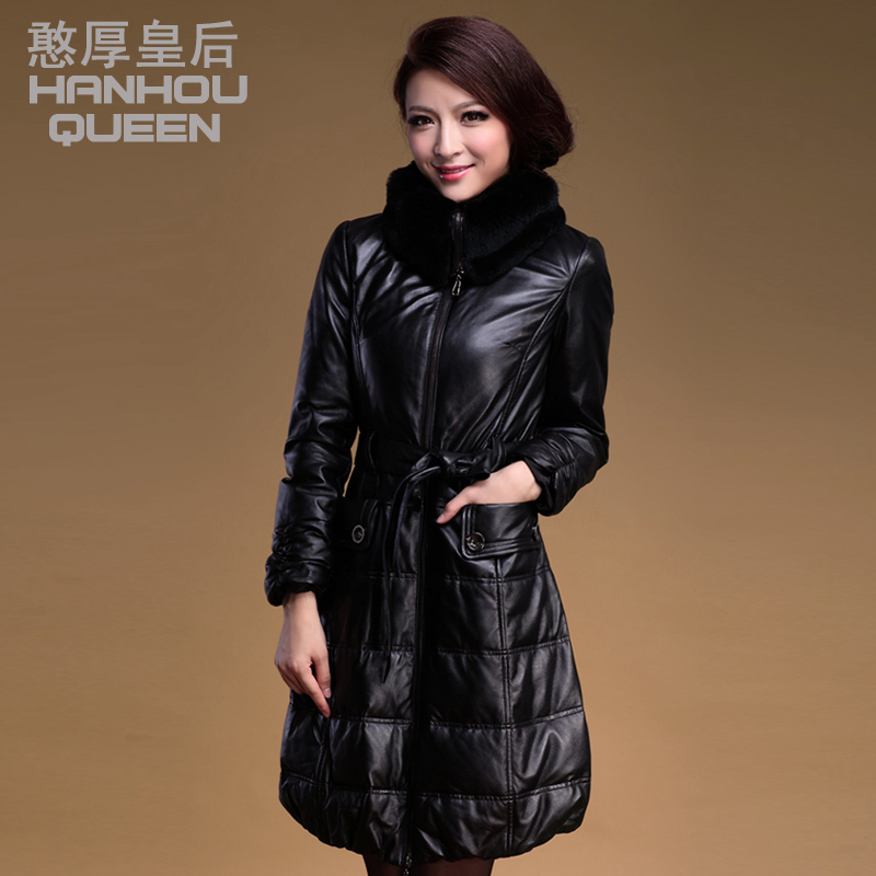 Fashion NEW Ladies Genuine leather coat,Elegant slim Sheep leather down jacket,womens winter down coat Fress shipping FQ181