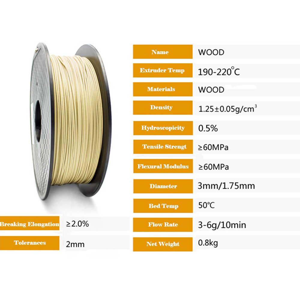 ביצועים גבוהים 1.75mm עץ סיבי פחמן 3d מדפסת נימה חומר למעלה איכות עבור FDM 3d הדפסת מבוסס על PLA